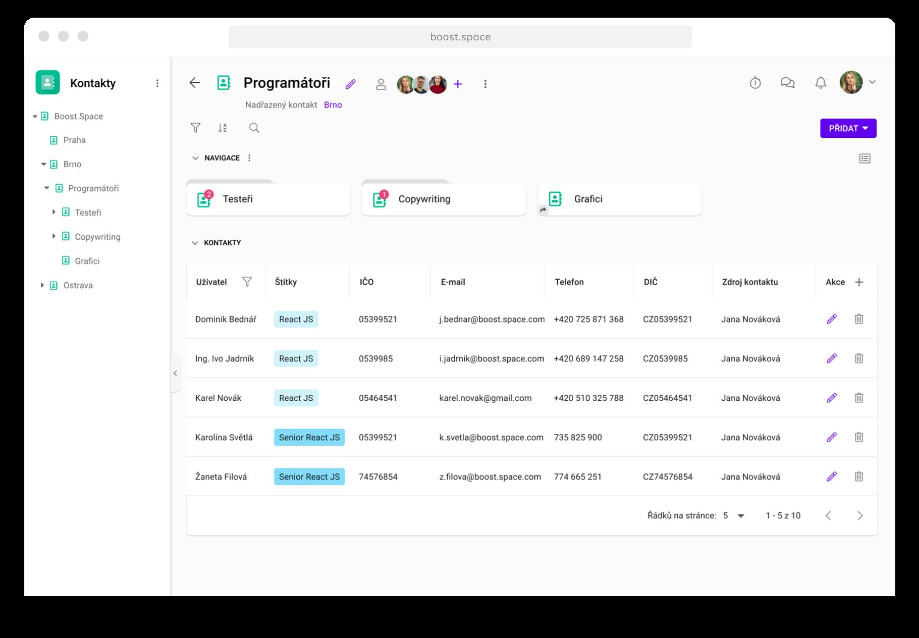 Screenshot modulu Kontakty